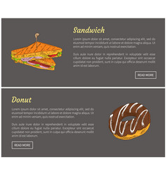 sandwich and donut posters vector image