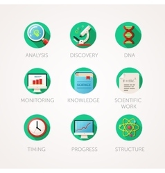 Science icons set Modern flat colored vector