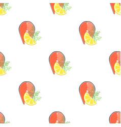 seafood salmon slice pattern vector image