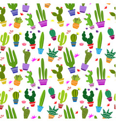 Seamless pattern with different cactus vector