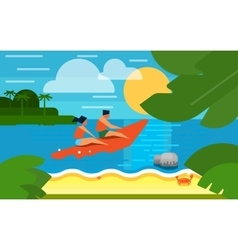 Seascape with People on Banana Boat vector