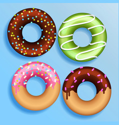 set 4 color donuts in modern flat style donut vector image