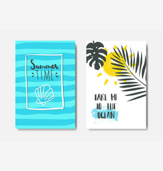 set ocean summer palm badge isolated typographic vector image