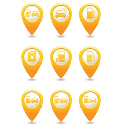 Set of 9 Transport MAP pointer yellow vector