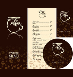 set of design elements for coffee house vector image