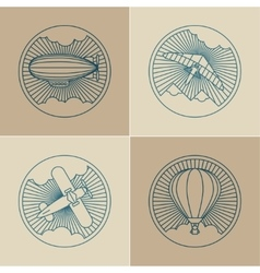 Set of round logo icons Air transport and flying vector image