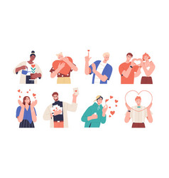 set people giving and sharing love donating vector image