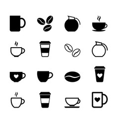 set simple coffee icons vector image