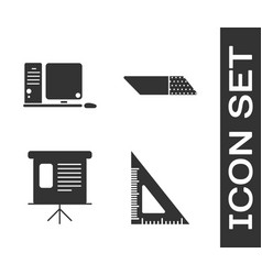 Set triangular ruler computer monitor with vector