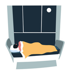 Sleeping at night character laying bed in evening vector