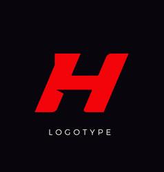 Speed letter h red race monogram logo italic vector