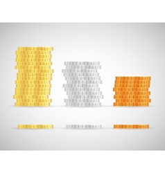 Stacks coins gold silver and copper template vector