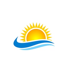 Sun shine beach ocean water logo vector