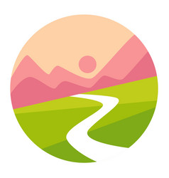 sunset mountains and valley isolated icon vector image