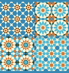 Traditional moroccan mosaic patterns vector