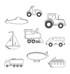 Transport and industrial sketched icons vector