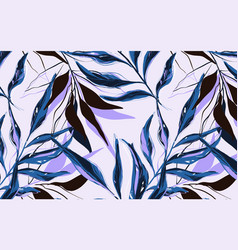 tropical pattern with palm tree in blue violet vector image