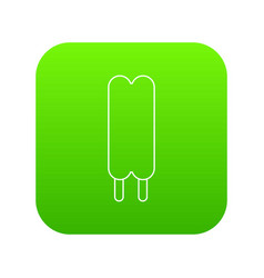 two sticks ice cream icon green vector image