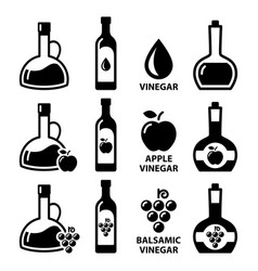 Vinegar icon set - apple cider vector