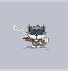 Wolf cub pup sticker emoticon smoking cigar vector