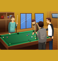 young people playing billiard vector image