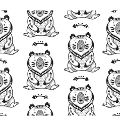 Black and white seamless pattern with bears vector image