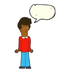 Cartoon bored man shrugging shoulders with speech vector