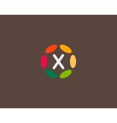 Color letter X logo icon design Hub frame vector image vector image