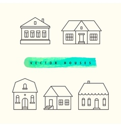 Houses set drawn black outline on a light vector image
