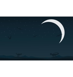 Landscape dinosaur at night silhouettes vector image
