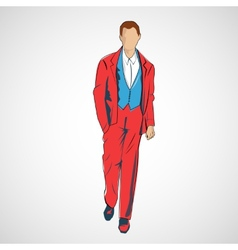 sketch man in fashion clothes eps vector image
