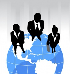 business team on the planet vector image