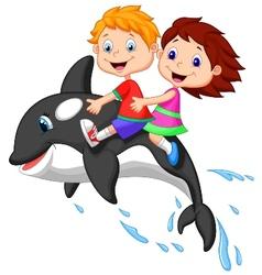 Cartoon Boy and girl riding orca vector image