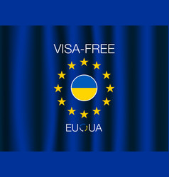 european union and ukraine visa-free regime banner vector image