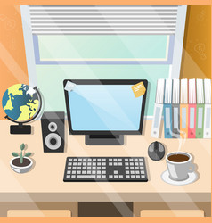 workplace home table with office tools vector image vector image