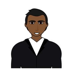 color image cartoon half body brunette man with vector image