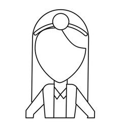 doctor female with head mirror and coat thin line vector image vector image