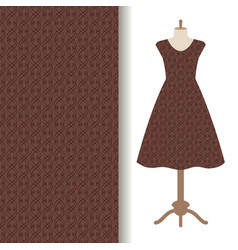dress fabric with abstract brown pattern vector image