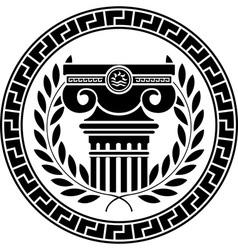 hellenic column and laurel wreath vector image vector image