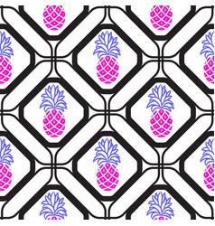 pineapples in rhombuses geometric seamless tile vector image