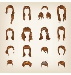 Set of female brown hair vector image vector image