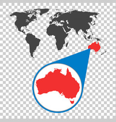 world map with zoom on australia map in loupe in vector image vector image
