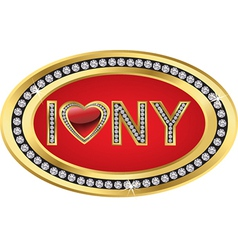 I love New York gold sign vector image