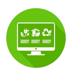 Infographic elements on monitor in green vector image vector image