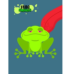Narcotic frog Acid Toad Narcotic amphibious Tongue vector image
