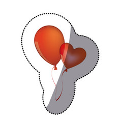 sticker shading red balloons flying romantic vector image