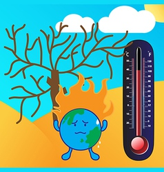 Thermometer and Global warming vector image vector image