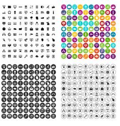 100 internet icons set variant vector
