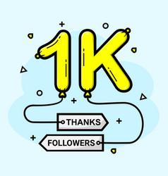 1k social media followers thank you vector