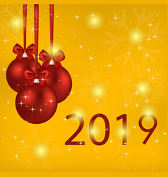2019 year card with red balls and bows vector image
